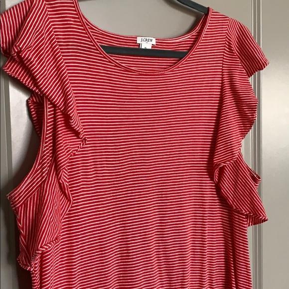 J. Crew Dresses & Skirts - Jcrew T-shirt red/white ruffle dress